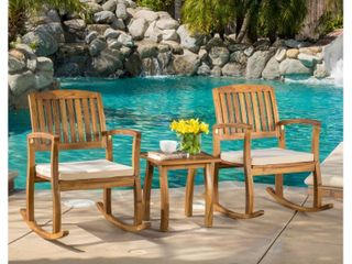lucca Outdoor 3 piece Rocking Chair Set by Christopher Knight Home  Retail 339 99