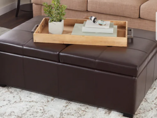 Frankfurt letaher Double Flip Top Storage Ottoman   Dark Brown