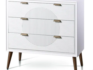 StyleCraft Milo Satin White and Copper Three Drawer Chest  Retail 299 99
