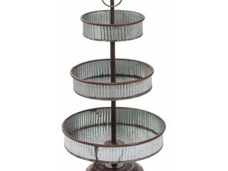 Transpac Metal Silver Spring Tabletop 3 Tier Tray