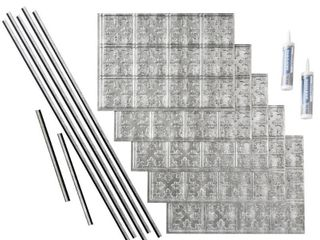 Fasade Traditional Style  10 Crosshatch Silver 15 square Foot Backsplash Kit  Retail 153 49