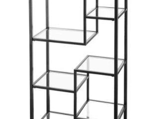 JENSEN METSl ASYMMETRICAl DISPlAY BOOKCASE   HZ5774A METAl GlASS ETAGERE 1PIECE