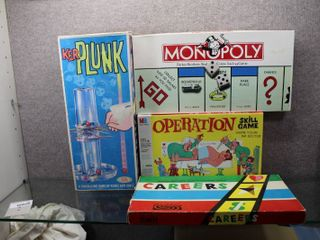 lot of 4 Board Games   KerPlunk  Careers  Operation  and Monopoly   Various Sizes