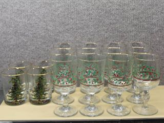 lot of 16 Christmas Glasses   Arby s 1987  Schumann Arzberg Noel   Various Sizes