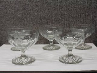 lot of 5 Desert   Sherbet Footed Glasses   Etched   Grapes on Vine   3 x3 5