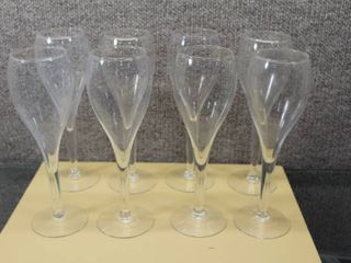 lot of 8 Tulip Fluted Champagne Glasses   8 5 x2 5