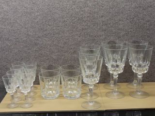 lot of 19 Glass Crystal   Tumblers  Water Goblet  Juice Glass  Cordials    Various Sizes