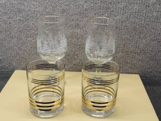 lot of 4 Tumblers and Goblets   Various Sizes