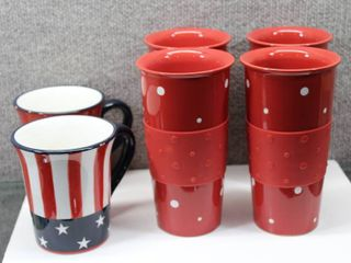 lot of 6 Red  White  and Blue Hot Beverage Mugs   Hausenware  Temp Tations   Various Sizes