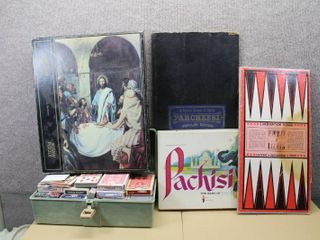 Vintage lot of Cards   Games   Pachisi  Checker Board  Box full of Cards   Poker  Pinochle  Jumbo Face  Hoyle   Vegas Cards