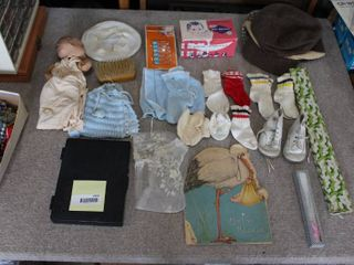large lot Vintage Baby Items   Printing Kit   Fans   Wee Walker Shoes  Doll  Doll Clothes  Diaper Pins   Vintage Baby Book 1934