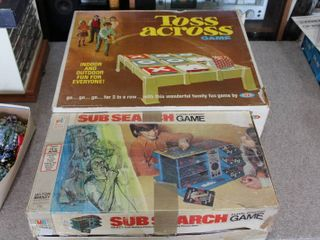 lot of 2 Vintage Games   Sub Search   Toss Across   Milton Bradley   Ideal