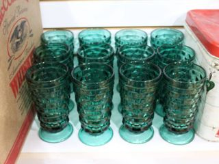 lot of 12 Vintage Green Footed Drinking Glasses   Emerald Green   6  Tall     lOCAl PICKUP ONlY