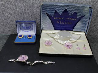 lot of 2 Vintage Jewelry Items   lucien Collection  Necklace  Earrings  Bracelet  Brooch    la Rue Cuff links
