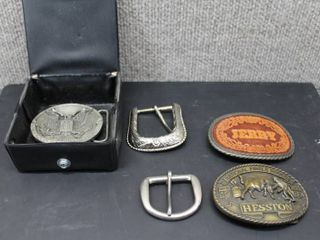 lot of 5 Belt Buckles   Hesston 1981 NFR  Proud to be an American  Jerry   Blanks
