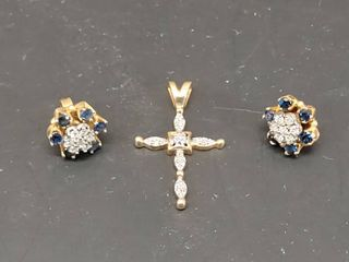 lot of 2 14K Gold 2 Piece Earrings  14K Cross Pendant   Possibly Diamonds and Sapphires