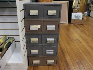 Vintage lot of 5 Index File Drawers   12 1 2  x 5 1 2      lOCAl PICKUP ONlY