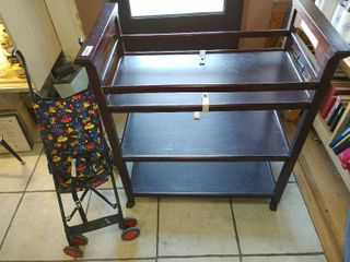 Baby Changing Table on Casters   Small Stroller   Graco   Wood Finish   Table   37 1 2  x 42      lOCAl PICKUP ONlY