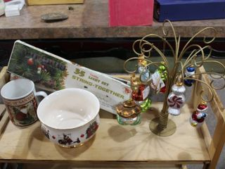 lot of 14 Christmas lot   Hallmark Ornaments w  Tree  Bowl  lights   Cup     lOCAl PICKUP ONlY