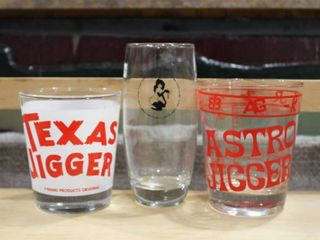 lot of 3 Collector Glasses   Texas Jigger  Astro Jigger   Playboy   Various Sizes