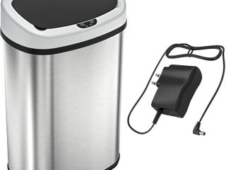 SENSORCAN 13 Gallon Stainless steel oval sensor Trash can with ac adapter
