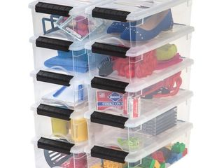 IRIS USA 5 Qt Clear Plastic Storage Box with latches  10 Pack