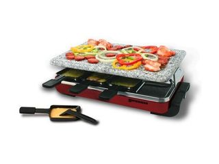 Classic Raclette 8 Person Party Grill with Granite Top   Red