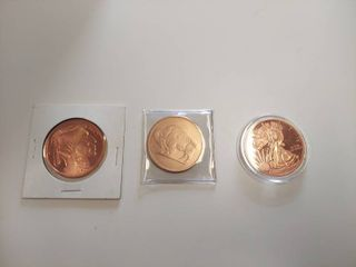 3  1 Oz Copper Medallions