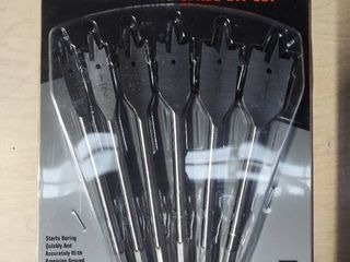 6pc Spade Drill Bit Set Wood Boring   3 8  To 1