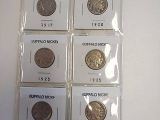 Card of 6 Buffalo Nickels
