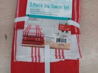 3 Piece Tea Towel Set   Red