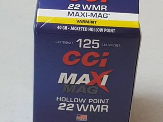 125 rounds  CCi WMR Maxi Mag  40 gr  jacketed hollow point