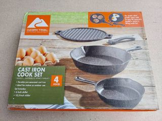 Ozark Trail 4 Piece Cast Iron Set with Removable Griddle Handle