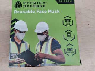 Premium Defense Face Mask Reusable Triple layer Contractor 16 pack