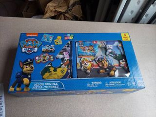 Paw Patrol Mega Bundle 5 Games Set Toy Kids Puzzle Dominoes Jumbo Cards Wood Sound Puzzle