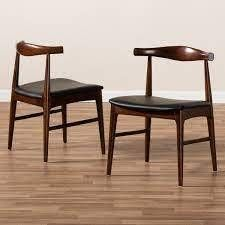Mid Century Black Faux leather Dining Chair Set of 2 Retail 220 46