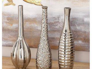 Decmode Modern 13 Inch Decorative Silver Ceramic Vases   Set of 3