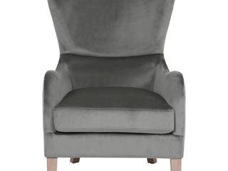 Olivet Two Toned Wingback Chair Gray Velvet and linen   Adore Decor