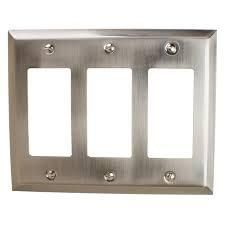 gliderite 3 gang roker wall plate cover brushed nickel 6 pcs