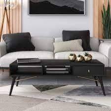 modest bonfoy modern black ash coffee table as is