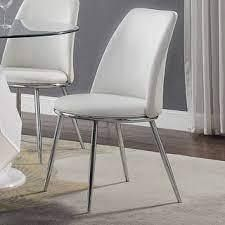 Silver Orchid Brody White PU Side Chair  Set of 2  Retail 255 99
