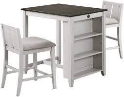 New Classie Furniture Heston Dining Set Counter Height Table w 2 chairs  White Grey
