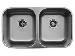Karran Undermount Stainless Steel 32 in  50 50 Double Bowl Sink  Retail 169 49