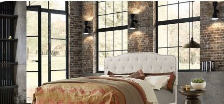 Best Quality Furniture Upholstered Button Tufted Panel Bed cream beige  Retail 226 49