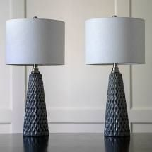 Side Table lamps set of 2 no shades TT16164 CHARCOAl