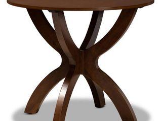 35  Tilde Wide Round Wood Dining Table Walnut   Baxton Studio