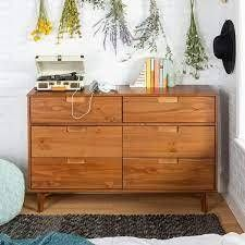 Caramel  Carson Carrington Gammelstaden Mid century 6 drawer Dresser  Retail 346 49