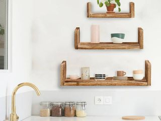 Aleko Modern Wood Wall Mount Storage Floating U shaped Shelves   Set Of 3
