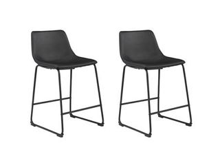 Centiar Black Upholstered Counter Height Barstool  Retail 153 99