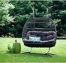 carova double haning chair by avenue 405 brown as is
